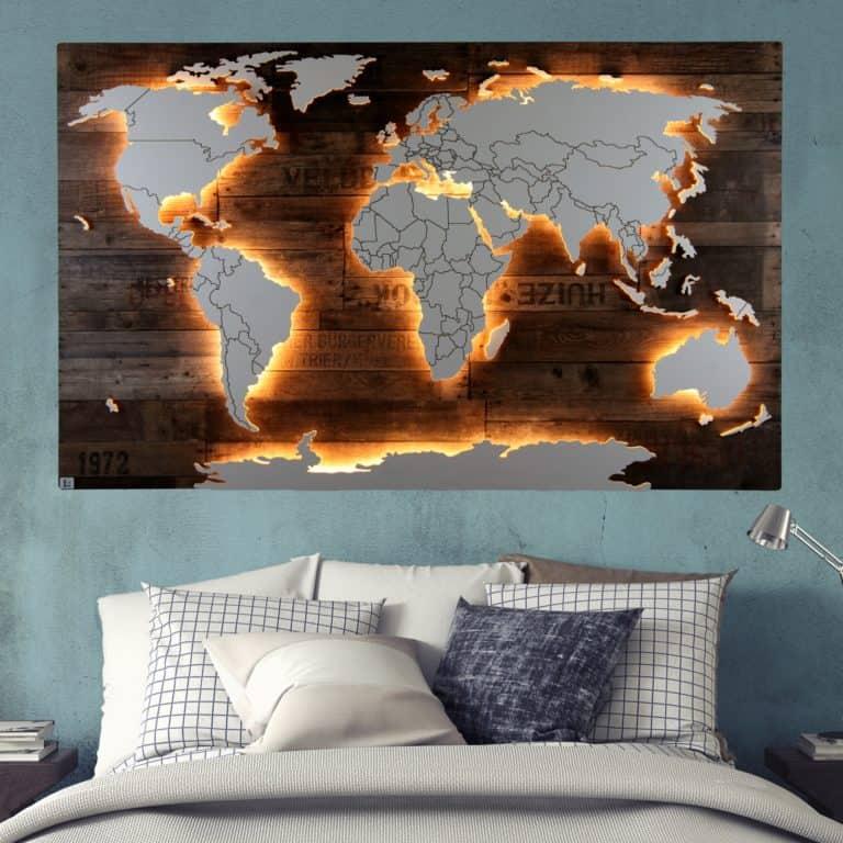 Weltkarten mit Dekor-Hintergrund von merk!echt