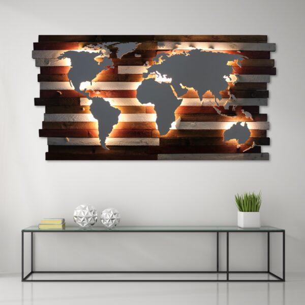 SALE: Weltkarte | Hintergrund: Kanthölzer mit Kalkfarbe gestrichen | ca. 137x80cm – Weiße Kontinente – Warmweiße Beleuchtung – Ohne Antarktis – Ohne Ländergrenzen