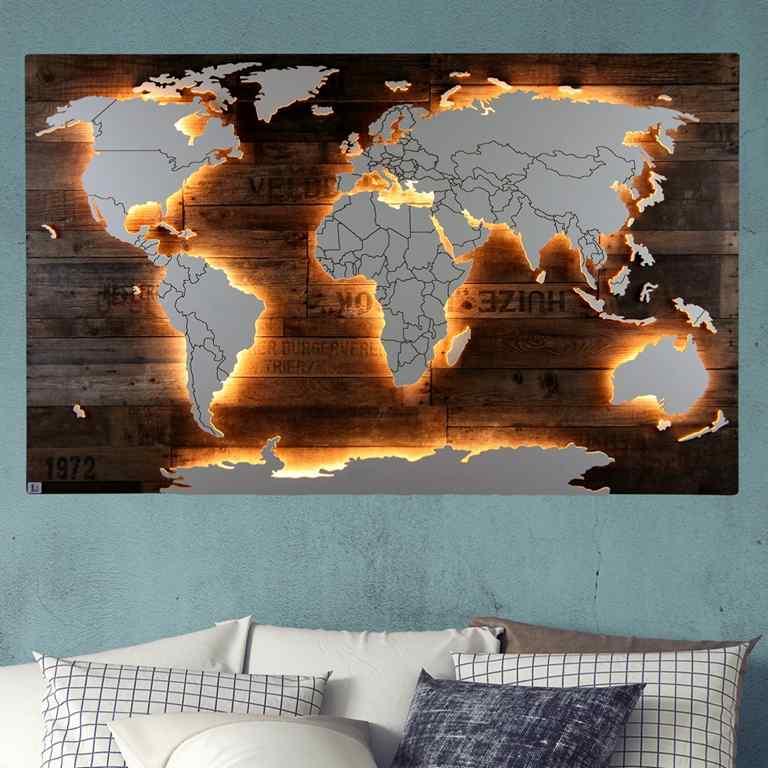Weltkarte-Amundsen-Vintage-WeltkarteHolz-Wandbild-Beleuchtet-WeißesKontinente-Holz-Welt-Karte-XXL-WelkartenAusHolz-WeißeKontinente-KontinenteHolz