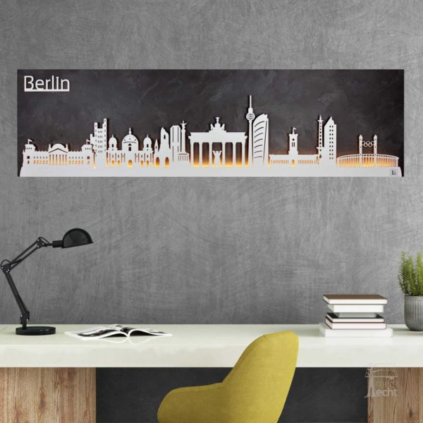 """Skyline """"BERLIN"""" – Highlights der Stadt <br> Wandbild aus Holz (128cm)"""