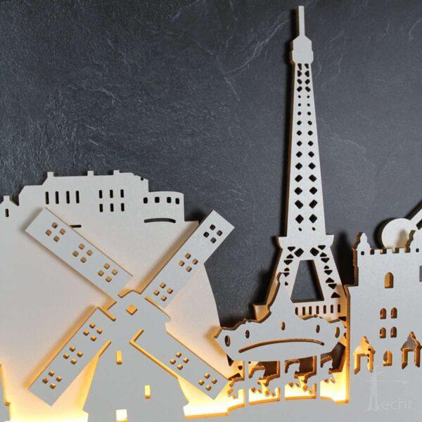 "Skyline ""EUROPA"" – Highlights der Region | Wandbild aus Holz (128cm)"