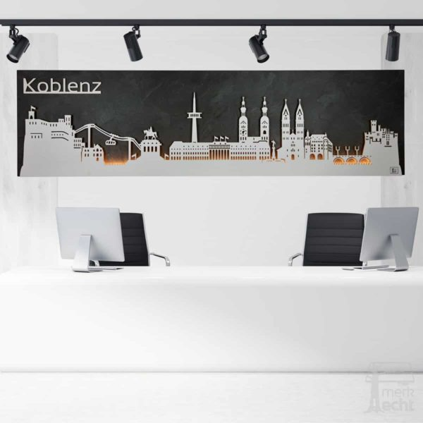 "Skyline ""KOBLENZ"" – Highlights der Stadt <br> Wandbild aus Holz (128cm)"