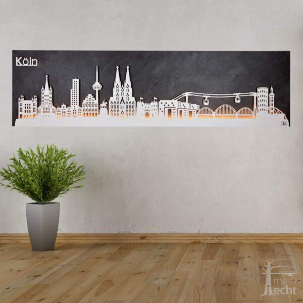 """Skyline """"KÖLN"""" – Highlights der Stadt <br> Wandbild aus Holz (128cm)"""