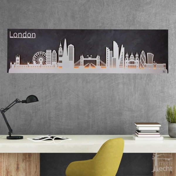 "Skyline ""LONDON"" – Highlights der Stadt <br> Wandbild aus Holz (128cm)"