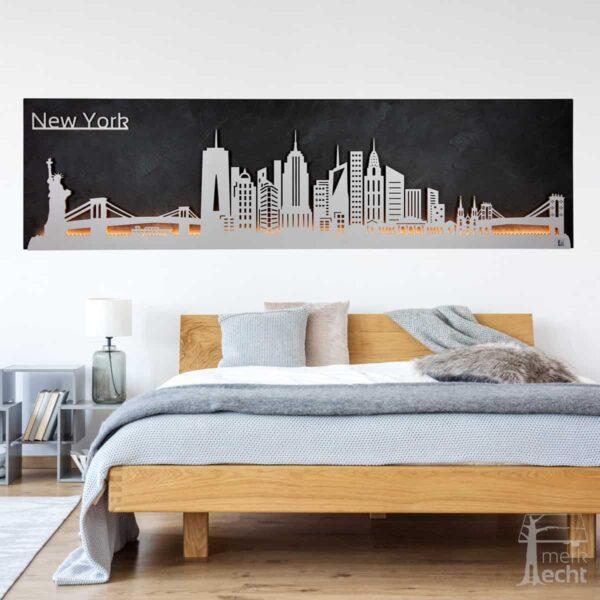 "Skyline ""NEW YORK"" – Highlights der Stadt <br> Wandbild aus Holz (128cm)"