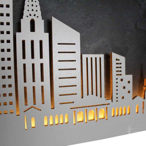"""Skyline """"NewYork"""" - Beleuchtete Dekoration als Wandbild - Weltkarten & Skylines von merk!echt"""