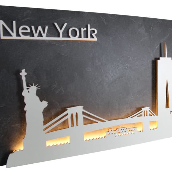 "Skyline ""NEW YORK"" – Highlights der Stadt | Wandbild aus Holz (128cm)"
