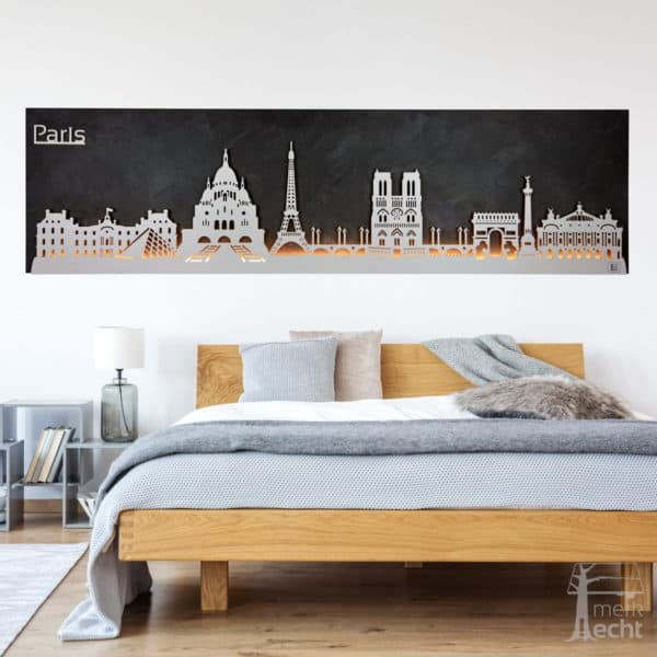 "Skyline ""PARIS"" – Highlights der Stadt | Wandbild aus Holz (128cm)"