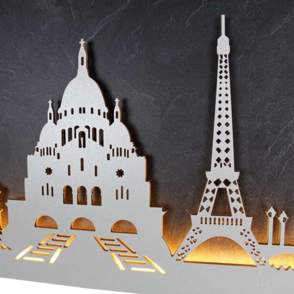 "Skyline ""PARIS"" – Highlights der Stadt <br> Wandbild aus Holz (128cm)"