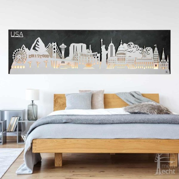 "Skyline ""USA"" – Highlights der Region <br> Wandbild aus Holz (128cm)"