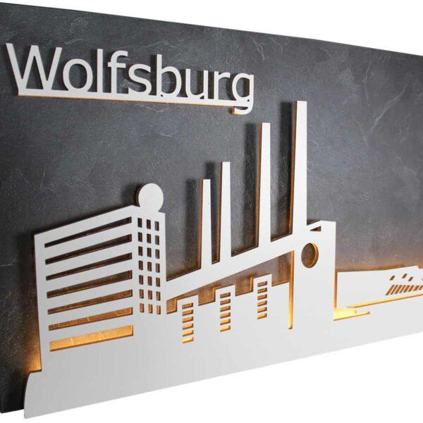 """Skyline """"WOLFSBURG"""" – Highlights der Stadt <br> Wandbild aus Holz (128cm)"""