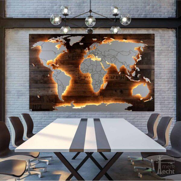 Eine Weltkarte für die Ewigkeit: Hochwertige Verarbeitung, bester Service - Beleuchtete Dekoration als Wandbild - Weltkarten & Skylines von merk!echt