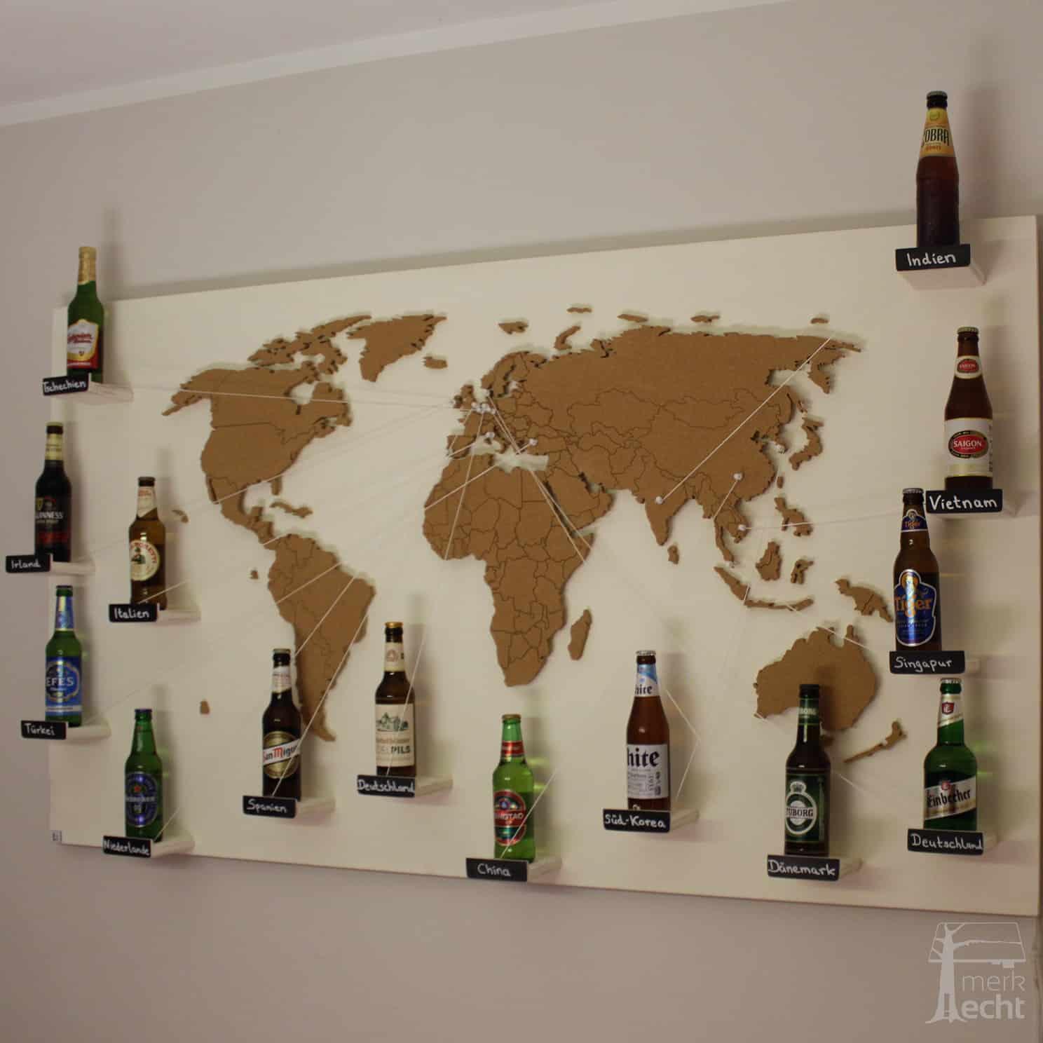 Weltkarte-Bier-Sonderanfertigung-Wandbild-Beleuchtet-WeißesKontinente-Holz-Welt-Karte-XXL-WelkartenAusHolz-WeißeKontinente-KontinenteHolz