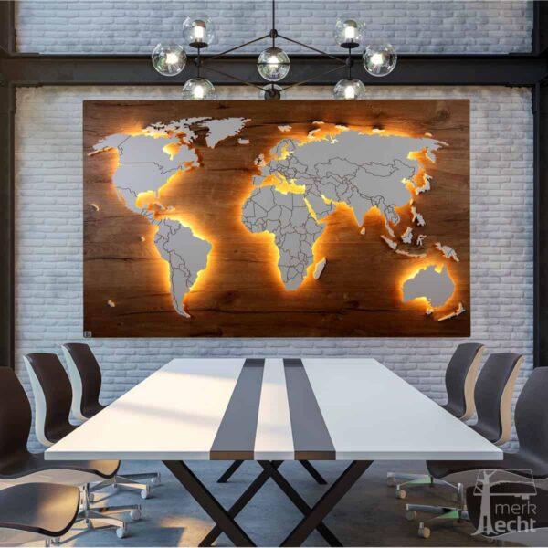 Weltkarte-Eiche-Dekor-WeltkarteHolz-Wandbild-Beleuchtet-WeißesKontinente-Holz-Welt-Karte-XXL-WelkartenAusHolz-WeißeKontinente-KontinenteHolz
