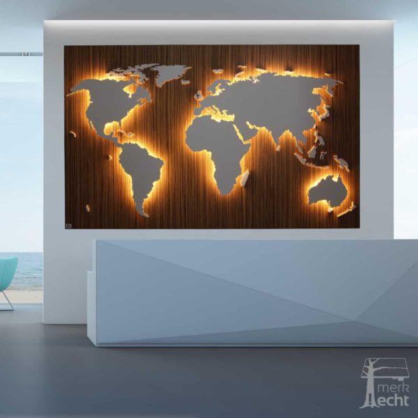 """Weltkarte """"Gama"""" <br> Hintergrund: Zebrano (Dekor)"""