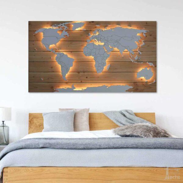 Beleuchtete Weltkarte Echtholz Hintergrund Schlafzimmer