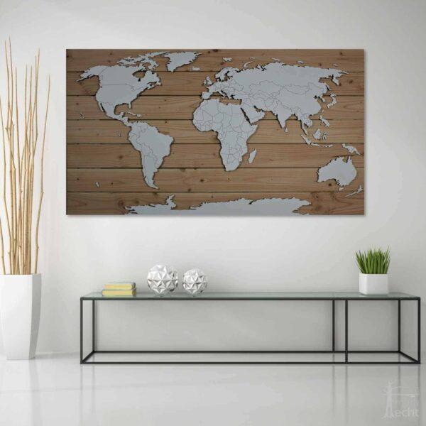 Weltkarte Holz XXL Wohnzimmer