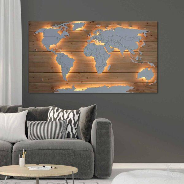 Beleuchtete Weltkarte Echtholz Wohnzimmer über Sofa