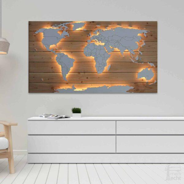 Weltkarte Holz Echholz Douglasie Beleuchtet Wohnzimmer
