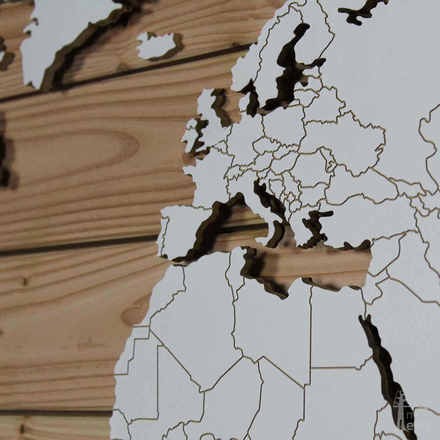 Kontinente Weltkarte DIY Bausatz weiß ländergrenzen