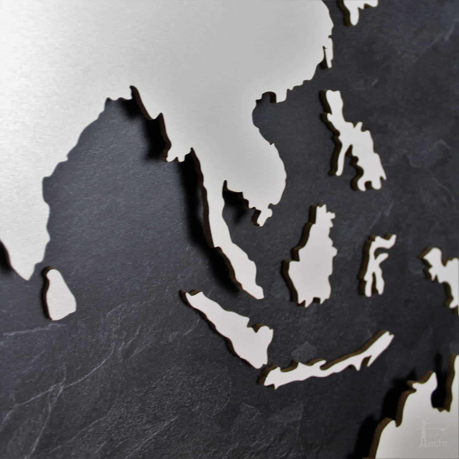 Weltkarte-Schiefer-Wandbild-Beleuchtet-WeißesKontinente-Holz-Welt-Karte-XXL-WelkartenAusHolz