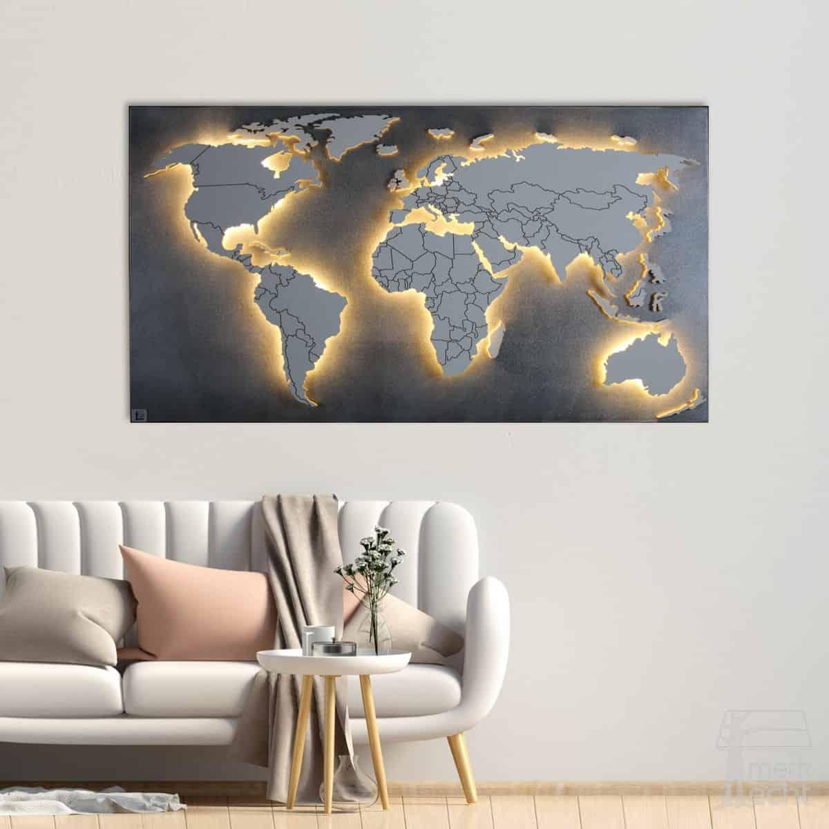 Weltkarte-Magnetisch-Magnetwand-Sonderanfertigung-Wandbild-Beleuchtet-WeißesKontinente-Holz-Welt-Karte-XXL-WelkartenAusHolz-WeißeKontinente-KontinenteHolz