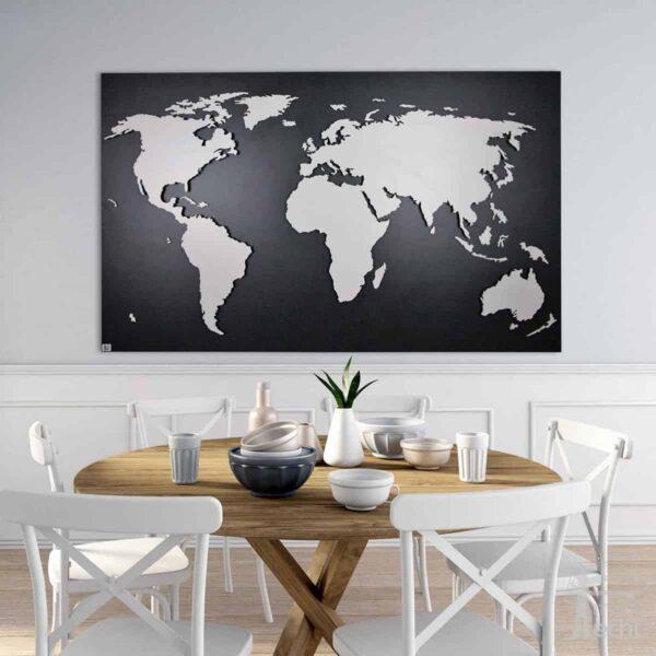 Weltkarten aus Holz als beleuchtetes Wandbild mit 3D Effekt von merk!echt