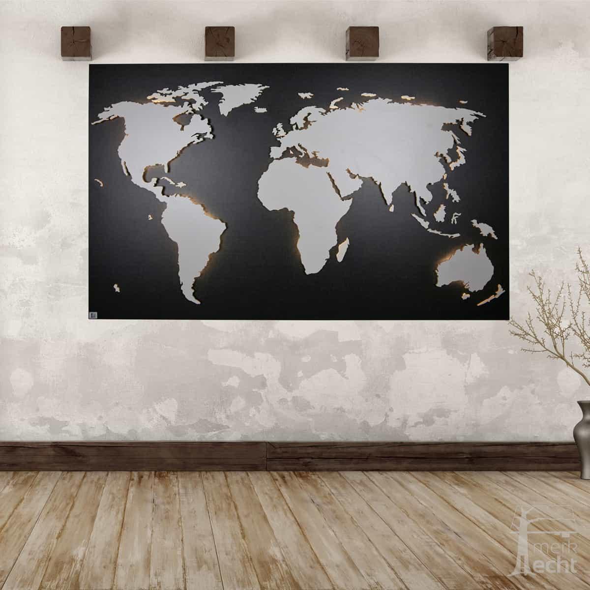 Weltkarte Polo Hintergrund Twist Dekor Wandbild Aus Holz