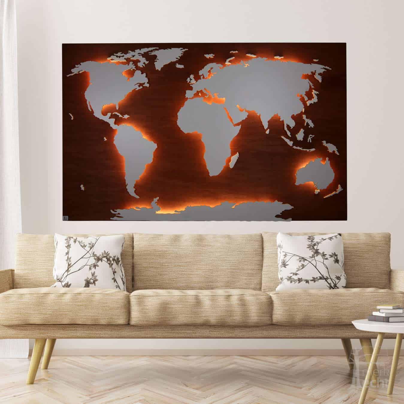 Weltkarte-Nussbaum-Echtholz-Wandbild-Beleuchtet-WeißesKontinente-Holz-Welt-Karte-XXL-WelkartenAusHolz-WeißeKontinente-KontinenteHolz