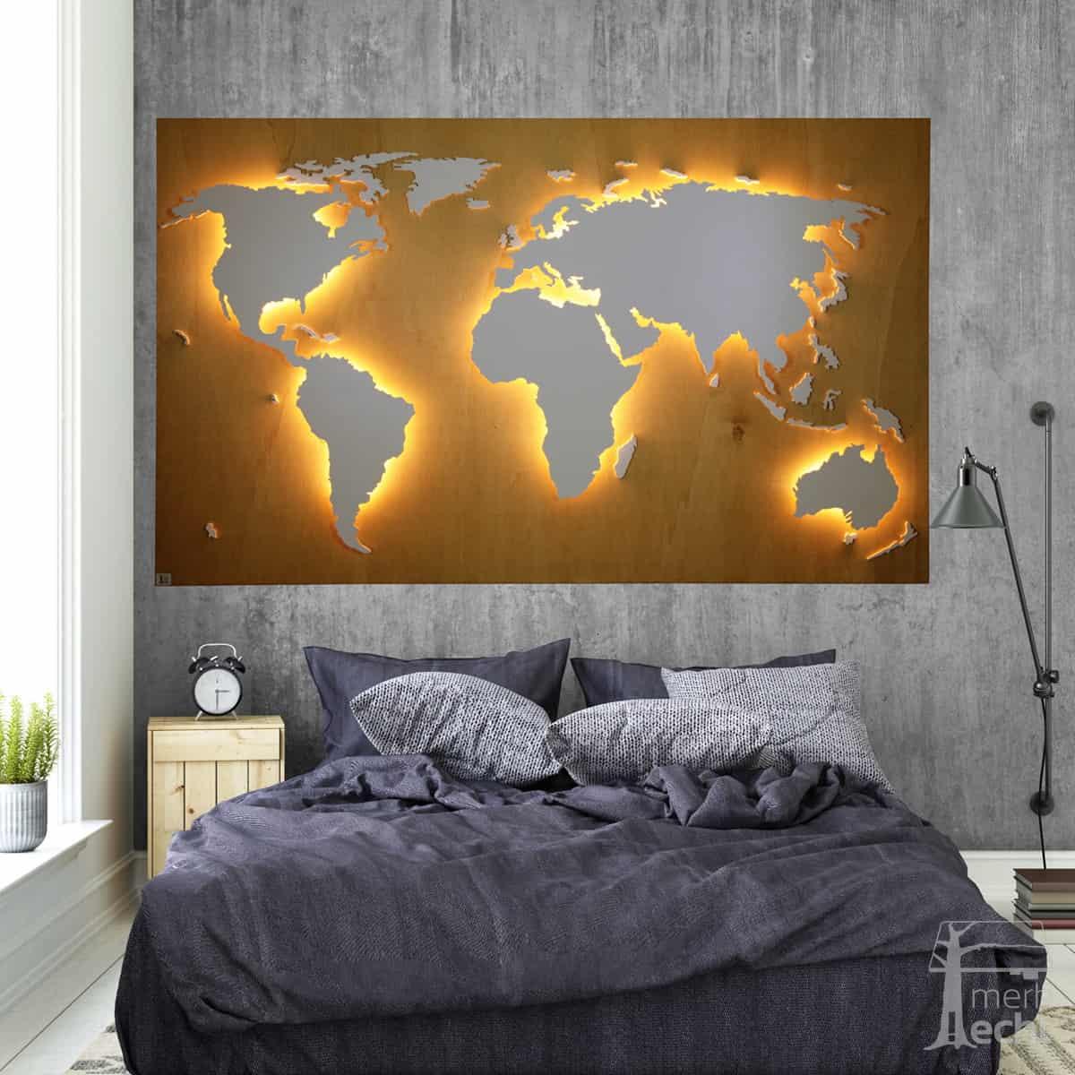 Weltkarte-Buche-Dekor-WeltkarteHolz-Wandbild-Beleuchtet-WeißesKontinente-Holz-Welt-Karte-XXL-WelkartenAusHolz-WeißeKontinente-KontinenteHolz