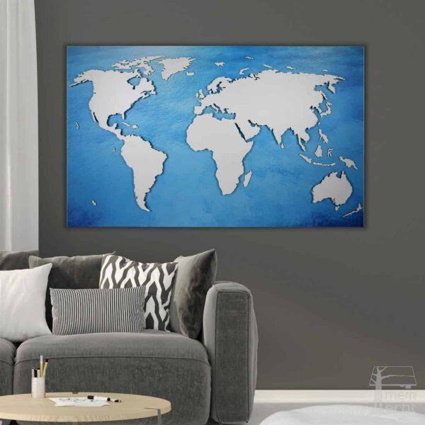 """Weltkarte """"Franklin"""" <br> Hintergrund: Wasser (Dekor)"""
