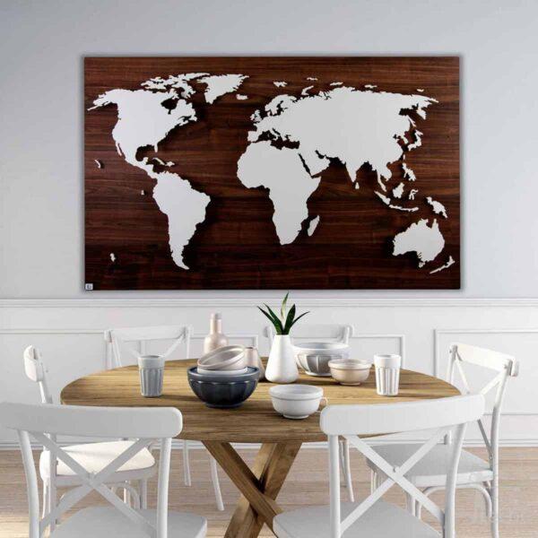 """Weltkarte """"Cook"""" <br> Hintergrund: Nussbaum (Dekor)"""