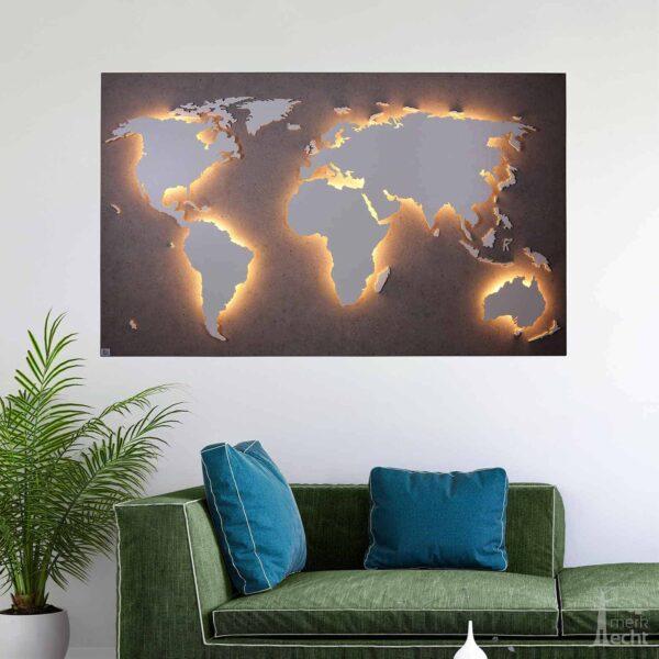 """Weltkarte """"Zheng"""" <br> Hintergrund: Beton (Dekor)"""